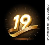 19 years golden anniversary... | Shutterstock .eps vector #657920830