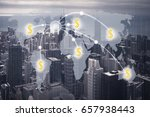 money transfer concept and city ... | Shutterstock . vector #657938443