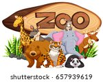 wild animals by the zoo sign... | Shutterstock .eps vector #657939619