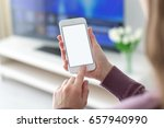female hands holding phone with ... | Shutterstock . vector #657940990