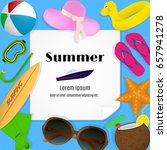 summer travel template with... | Shutterstock .eps vector #657941278
