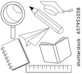 school supplies. black and... | Shutterstock .eps vector #657951058