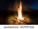 big fire in orange bonfire at... | Shutterstock . vector #657957520