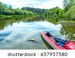 two kayaks standing in water... | Shutterstock . vector #657957580