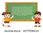 back to school. happy boy and... | Shutterstock .eps vector #657958414