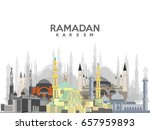 ramadan kareem calligraphy with ... | Shutterstock .eps vector #657959893