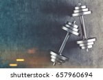 top view of two shiny steel... | Shutterstock . vector #657960694