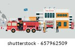 fire station with fireman and...   Shutterstock .eps vector #657962509