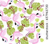 seamless pattern with pink... | Shutterstock .eps vector #657963730