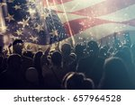 Small photo of Crowd of people celebrating Independence Day. United States of America USA flag with fireworks background for 4th of July