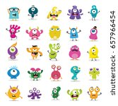 cute monster set  | Shutterstock .eps vector #657966454