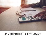 people calculate about cost at... | Shutterstock . vector #657968299