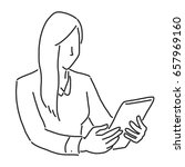 businesswoman with a tablet ...   Shutterstock .eps vector #657969160