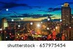 skyscraper night city with... | Shutterstock . vector #657975454