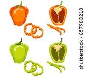 green and orange bell pepper.... | Shutterstock .eps vector #657980218