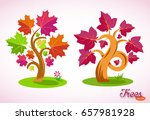 colorful cartoon trees. curved... | Shutterstock .eps vector #657981928