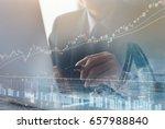 double exposure of businessman...   Shutterstock . vector #657988840