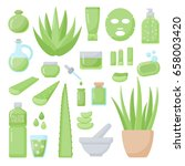 aloe vera flat vector icons set ... | Shutterstock .eps vector #658003420