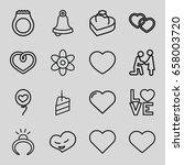 wedding icons set. set of 16... | Shutterstock .eps vector #658003720