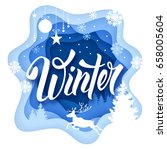 paper art carving style design... | Shutterstock .eps vector #658005604