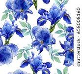 wildflower iris flower pattern... | Shutterstock . vector #658008160