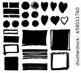 collection of black grungy ink... | Shutterstock .eps vector #658011760