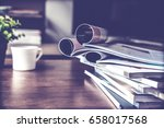 selective focus of the stacking ... | Shutterstock . vector #658017568