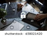 cyber security  data protection ... | Shutterstock . vector #658021420