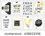 8 happy father's day postcards... | Shutterstock .eps vector #658023358