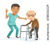 male nurse helped grandfather... | Shutterstock .eps vector #658026229
