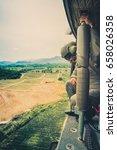 thai army soldiers holding gun...   Shutterstock . vector #658026358
