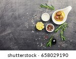 olive oil  herbs and spices... | Shutterstock . vector #658029190