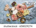 typical italian antipasto ... | Shutterstock . vector #658029274