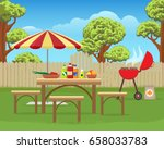 summer backyard fun bbq or... | Shutterstock .eps vector #658033783