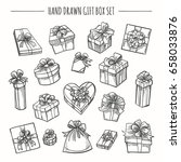 gift box set in hand drawn... | Shutterstock .eps vector #658033876