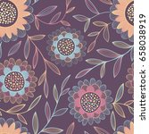 colorful seamless vector floral ...   Shutterstock .eps vector #658038919
