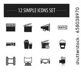 set of 12 editable movie icons. ...