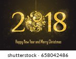 vector 2018 happy new year... | Shutterstock .eps vector #658042486