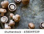 fresh mushrooms  overhead angle | Shutterstock . vector #658049539