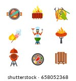 barbecue icon set | Shutterstock .eps vector #658052368