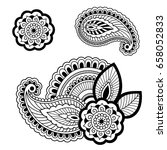 set of mehndi flower pattern... | Shutterstock .eps vector #658052833