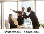 rude black businessman behaves... | Shutterstock . vector #658068058
