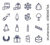 christmas icons set. set of 16... | Shutterstock .eps vector #658068766