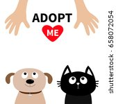 human hand. adopt me. dont buy. ... | Shutterstock . vector #658072054