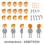 blonde businessman in grey suit ... | Shutterstock .eps vector #658074334