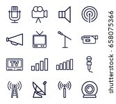 broadcast icons set. set of 16... | Shutterstock .eps vector #658075366