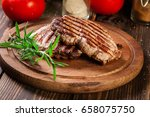 succulent portions of grilled... | Shutterstock . vector #658075750