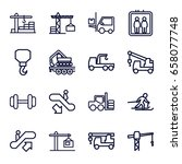 lift icons set. set of 16 lift... | Shutterstock .eps vector #658077748