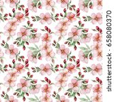 seamless pattern of watercolor... | Shutterstock . vector #658080370