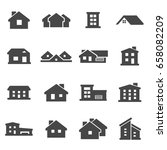 vector black house icons set on ... | Shutterstock .eps vector #658082209